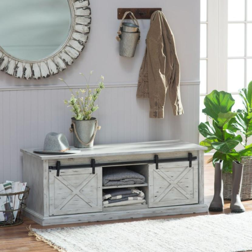 Barn Door Storage Bench Foyer Bedroom Window Seat Organizer