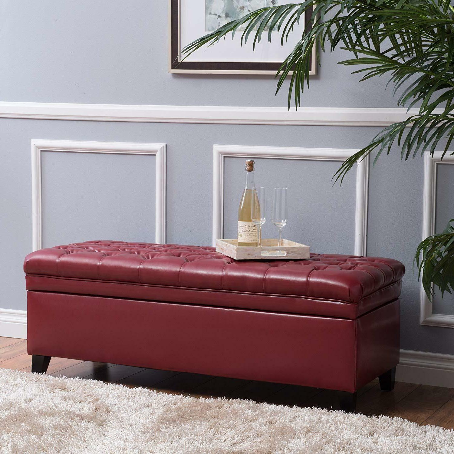 Furniture tufted fabric storage ottoman bench for living roo