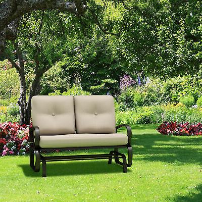 Glider Outdoor Patio Rocking Bench Cushioned Steel Frame