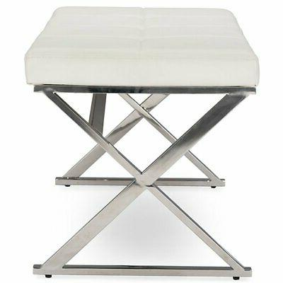 Baxton Studio Herald Faux Leather Bench White and