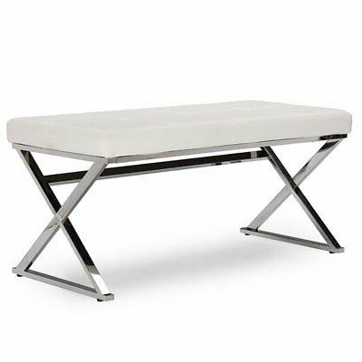 herald faux leather bench in white