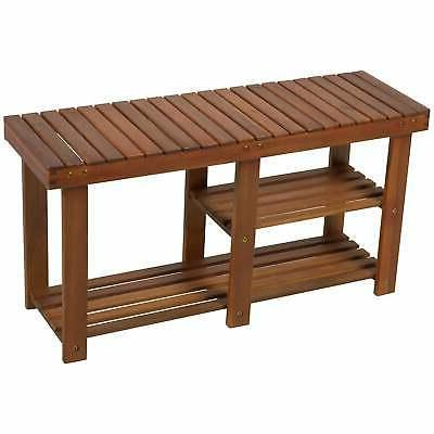 HomCom 3-Tier Acacia Wood Rustic Country Entryway Bench With