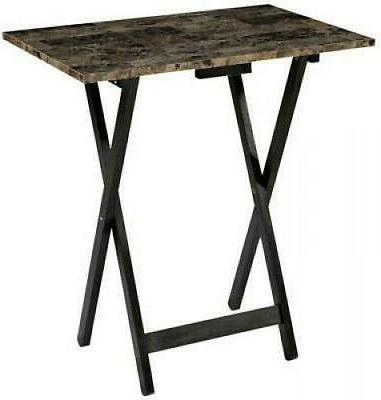 Linon Table Faux Marble Top Wood Portable