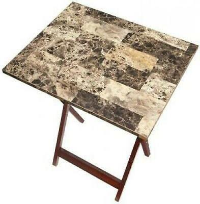 Linon Tray Table Set Marble Wood