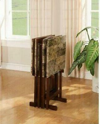 Linon Home Table Set Square Marble Top Brown Wood Portable