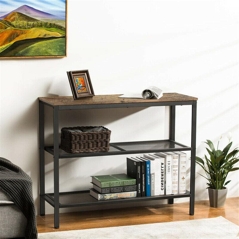 3-Tier Industrial Rustic Table Console Table Table Storage Shelf