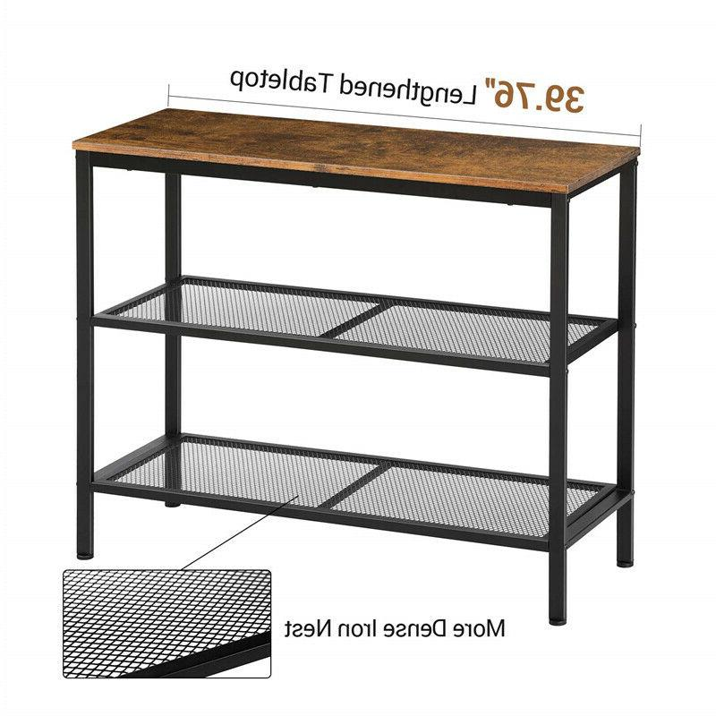 3-Tier Rustic Table Console Table Storage Shelf