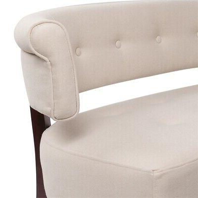 Jennifer Home Roll Arm Tufted Polyester Fabric Bench in Cream