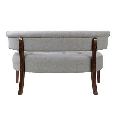 Jennifer Home Roll Tufted Fabric Bench in Light Gray