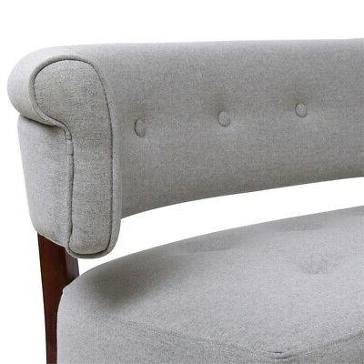 Roll Arm Tufted Polyester Fabric Bench in Gray