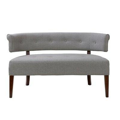 jared roll arm tufted polyester fabric bench