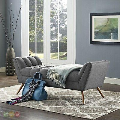 Mid-Century Modern Contemporary Button-Tufted Bench, Gray
