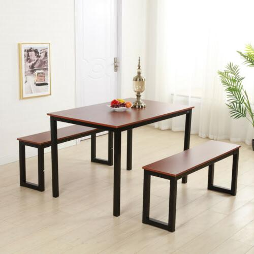 Modern Dining Room Set Table and Chairs 2pcs Benches Kitchen