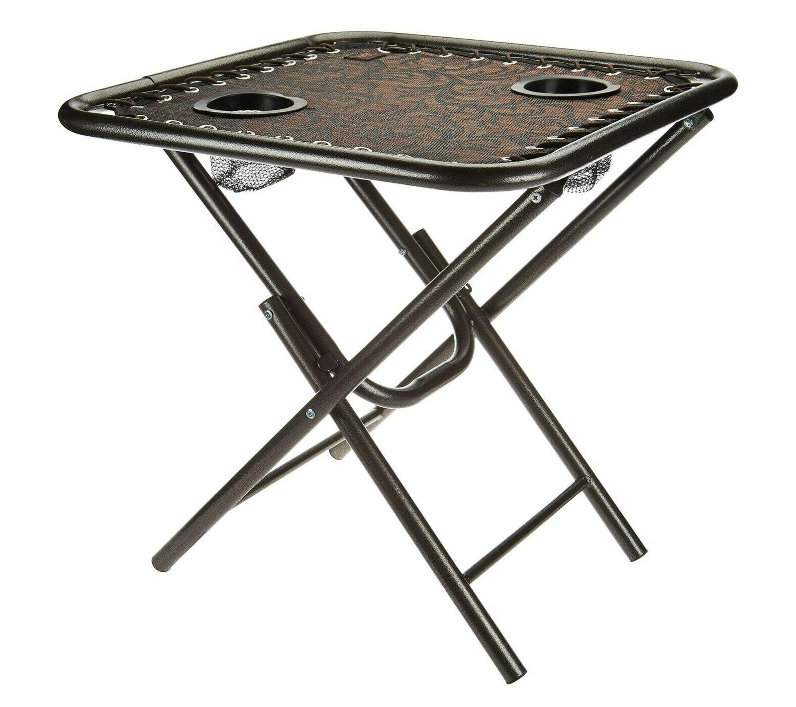 new foldable sling side table with cupholders