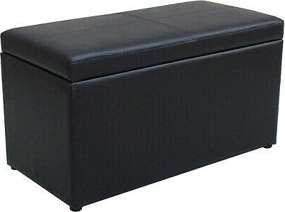 OTTOMAN BENCH Leather Faux Seat Chest Bedroom Home Decor