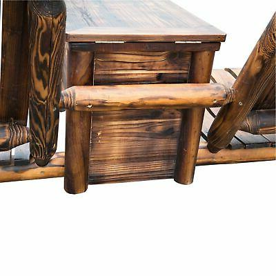 Outdoor 2 Seat Adirondack Wood w/ Ice Carbonized Brown