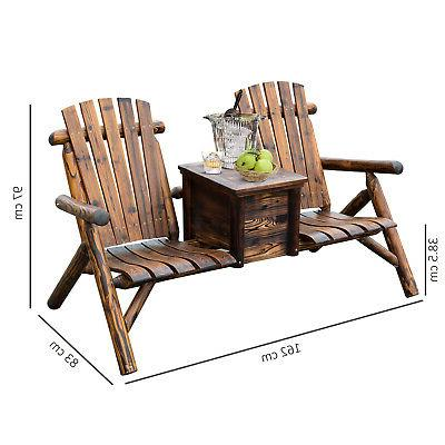 Outdoor Adirondack Bench w/ Ice Brown