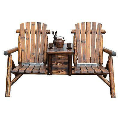 Outdoor Seat Double Adirondack Wood Chair w/ Ice Brown