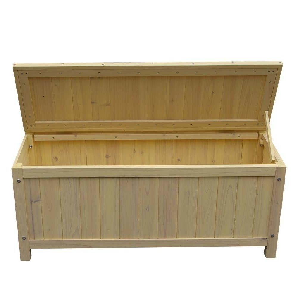 Outdoor Fir Wood Courtyard Park Bench with Storage Box Envir