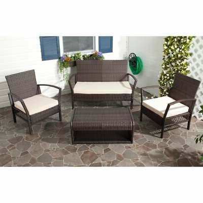 Safavieh Outdoor Living Avaron Brown/ Beige Cushion 4-piece