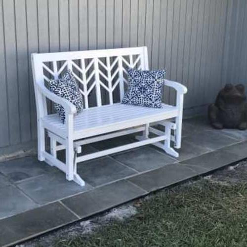 Outdoor Loveseat Glider Bench 4-ft White 2 Person Porch Pati
