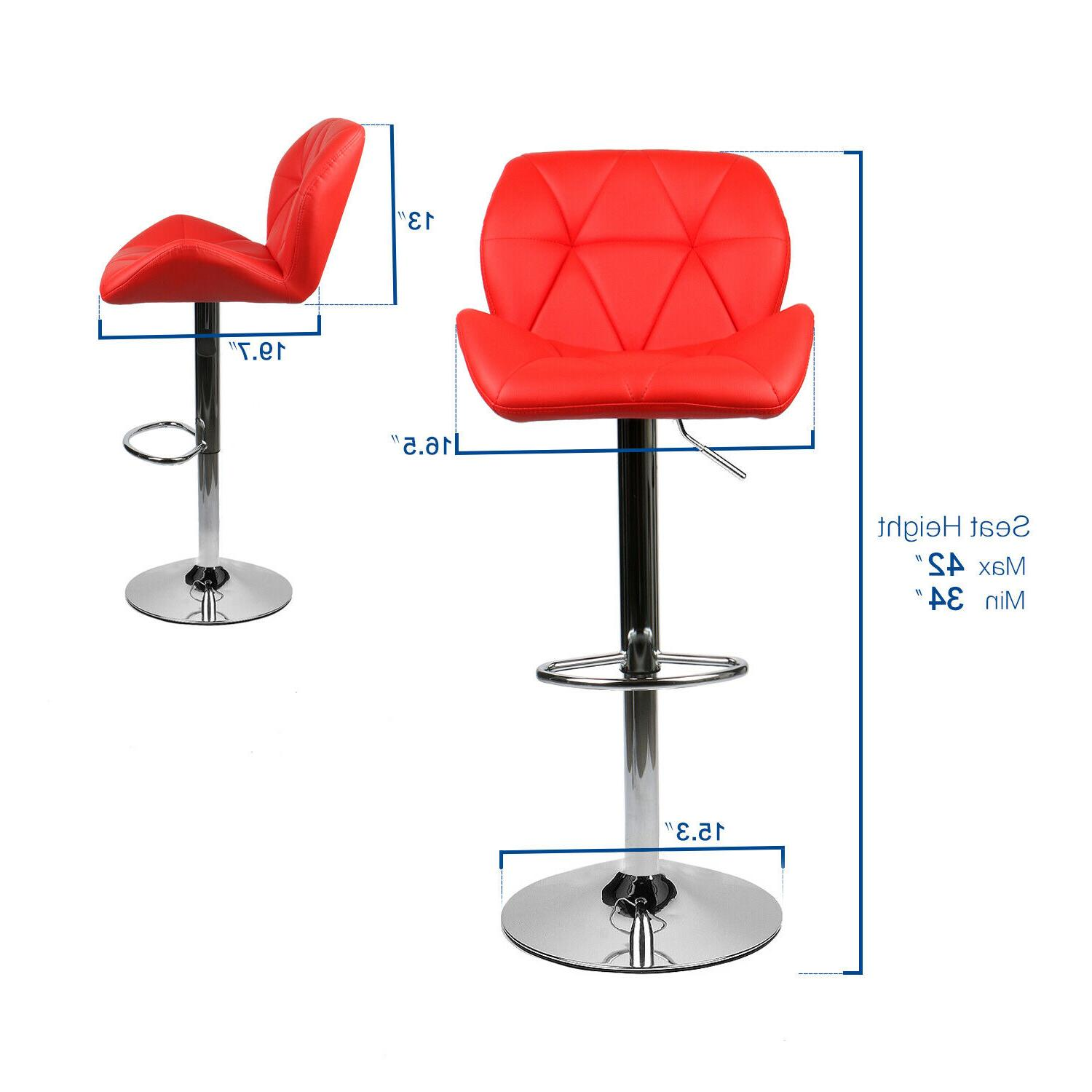 Set of 2 Bar Stools Countertop Height Leather Swivel Chair Red