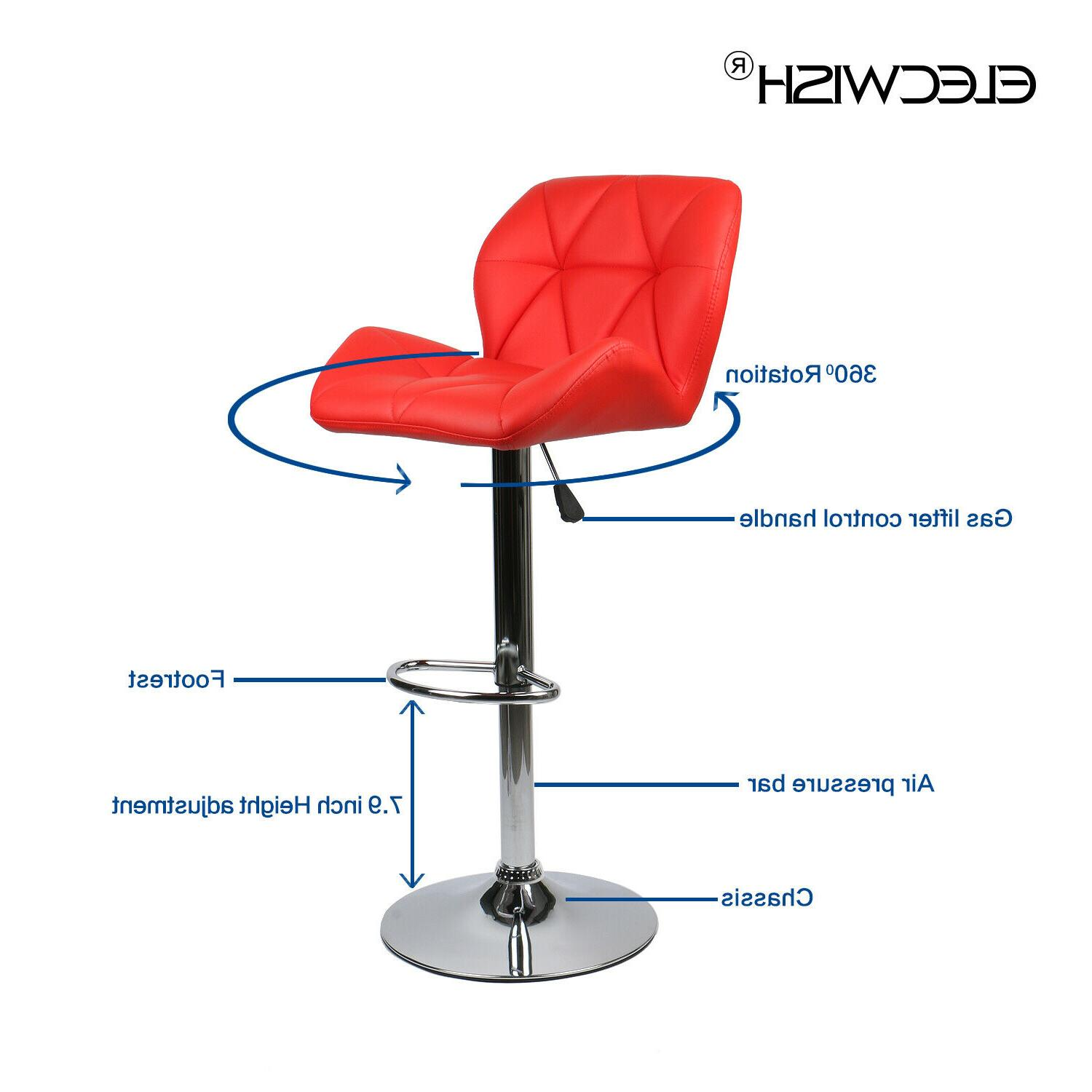 Set Stools Countertop Height Leather Swivel Dining Chair Red