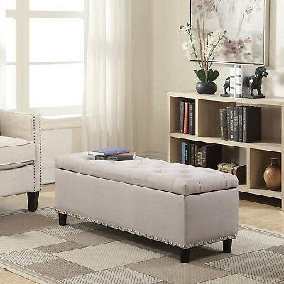 "NEW 48"" Rectangular Storage Ottoman Bench Linen Tufted Natur"