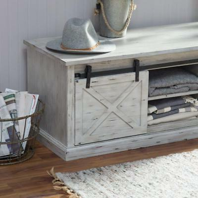 Rustic Barn Bench Entryway Mud Seat Gray White Seat