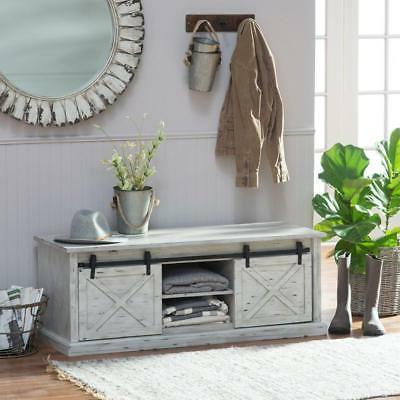 rustic barn door storage bench entryway mud