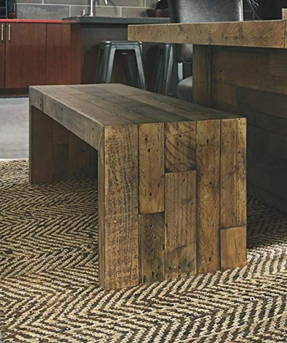 Rustic Bench Reclaimed Wood Distressed Kitchen Seating Stool