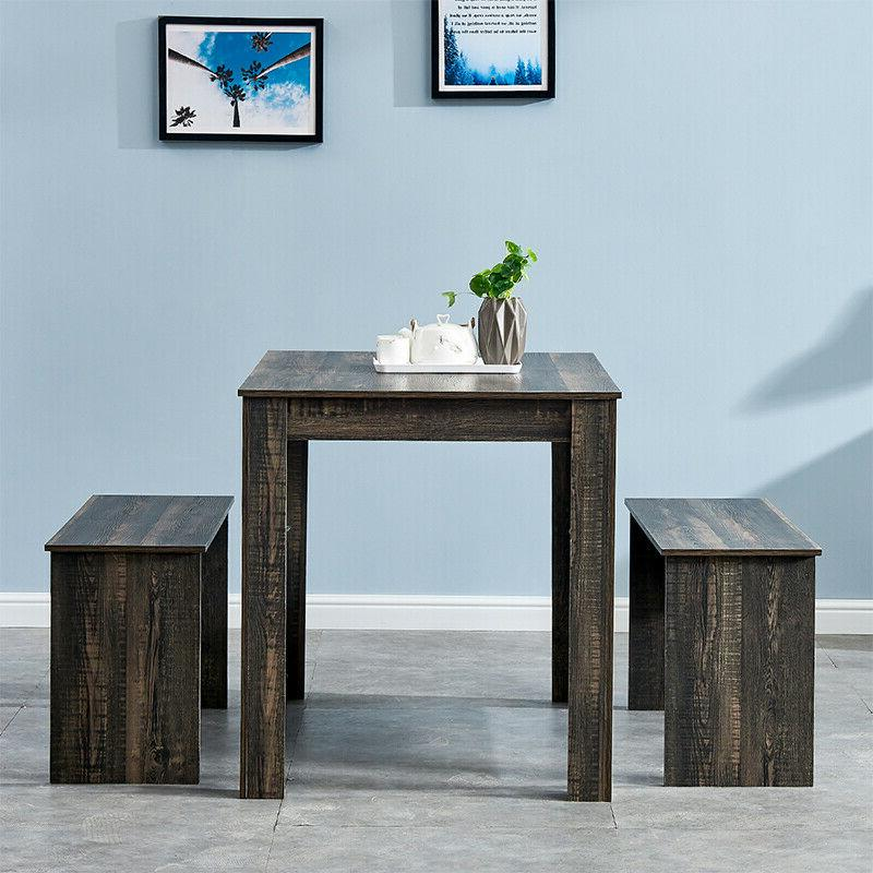 Solid 2 Bench Dining Table Chair Set Home Furniture