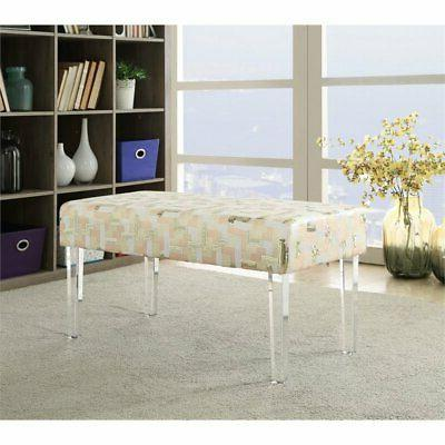 Linon Sophie Sequin Colorblock Acrylic Leg Upholstered Bench
