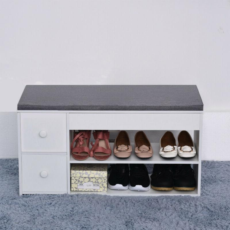 2-Tier Shoes Bench Entryway Storage Shoe Rack Storage Stool