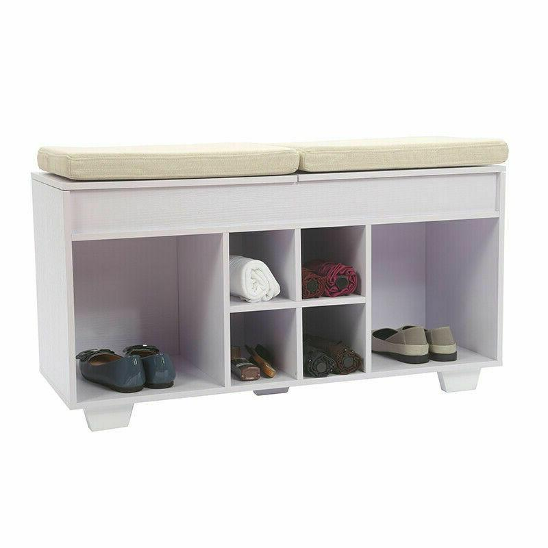 Storage Bench Cushioned Shoe Upholstered With 6 Cubby Entryw
