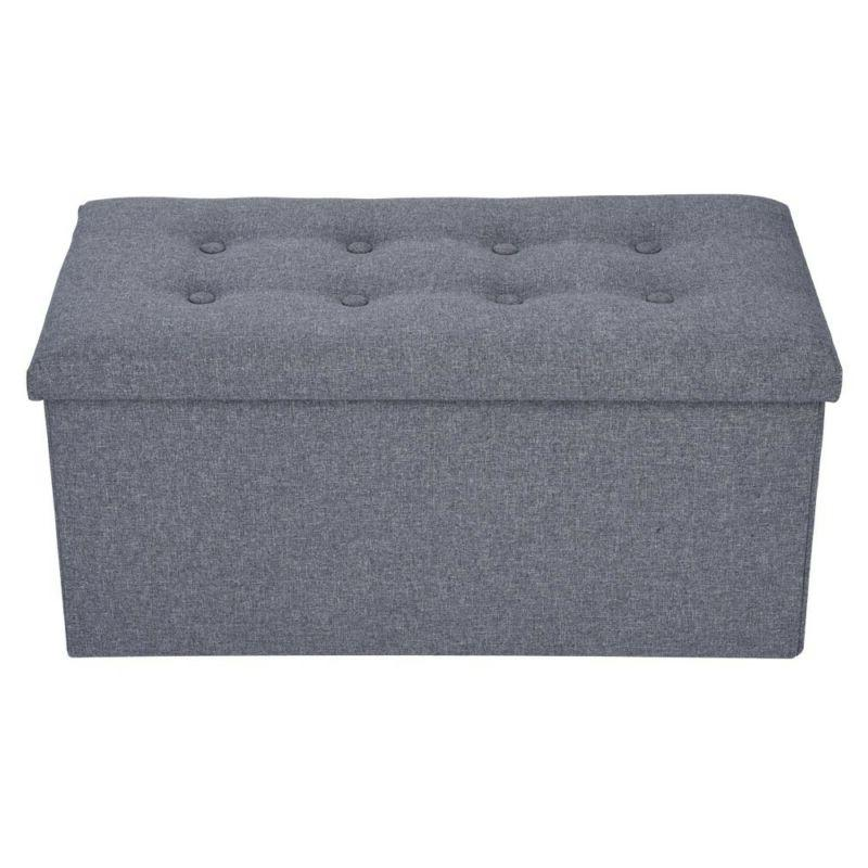 Storage Ottoman Collapsible Foot Faux