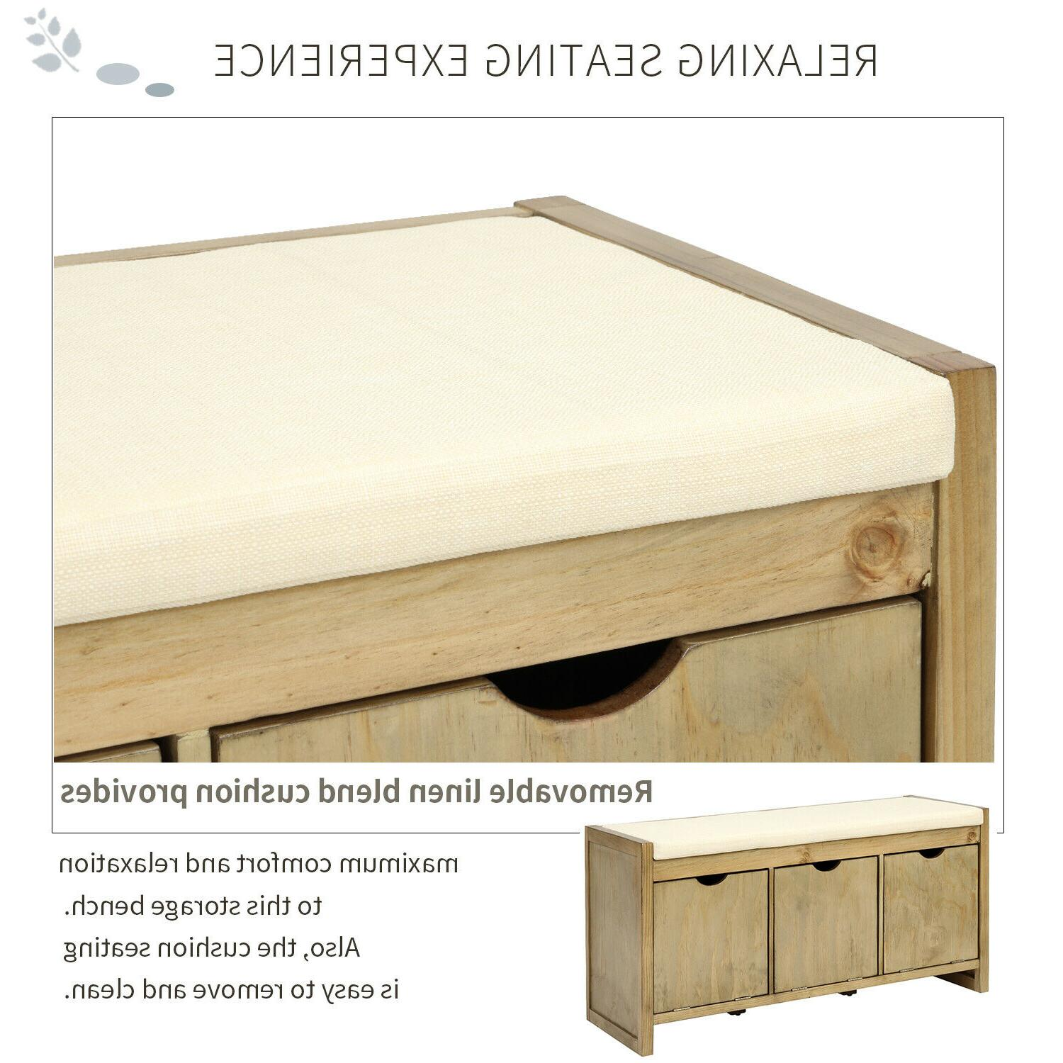 Storage Bench with Cushion&3 Flip Lock Cubbies for Living Room