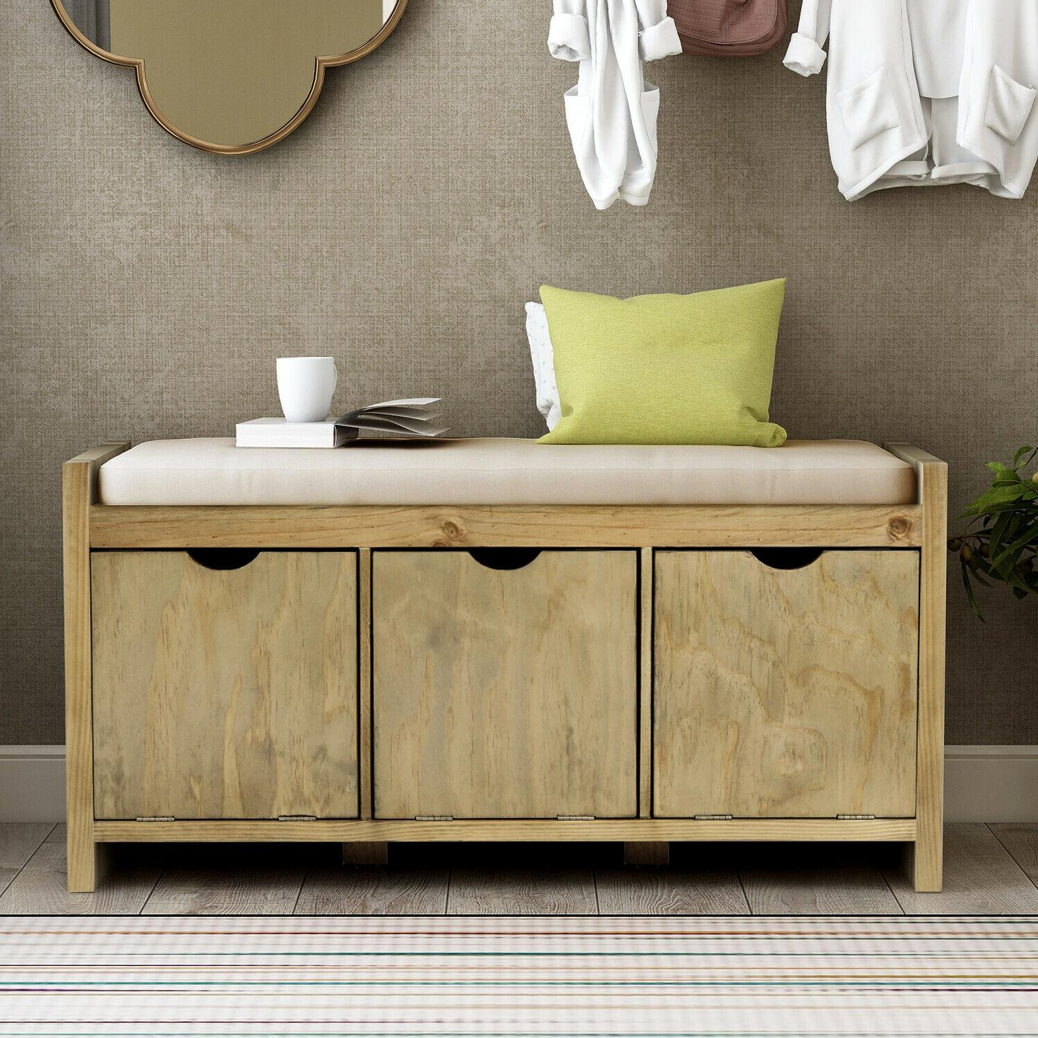 Storage Bench with Cushion&3 Flip Lock Cubbies Living
