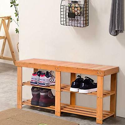 Two Tier Bamboo Entryway With Storage For