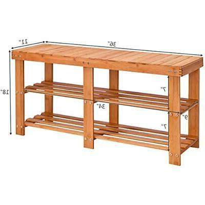 Two Shoe Bamboo With Storage Shelf For