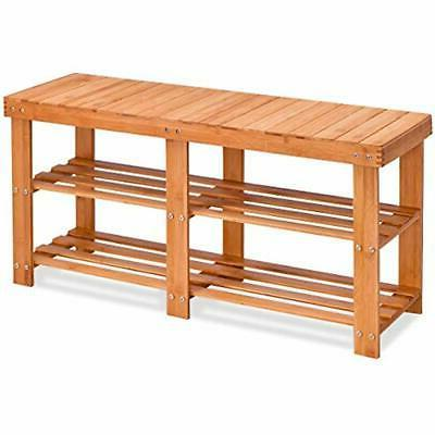 two tier shoe rack bamboo bench entryway