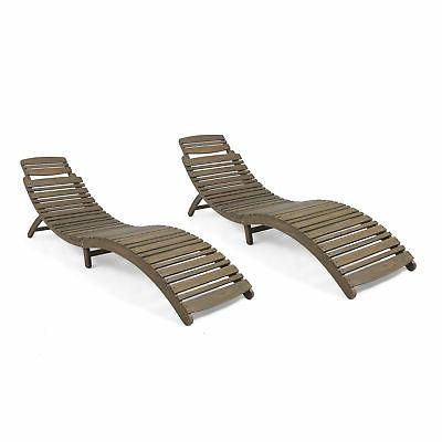 Tycie Outdoor Wood Foldable Chaise , Gray