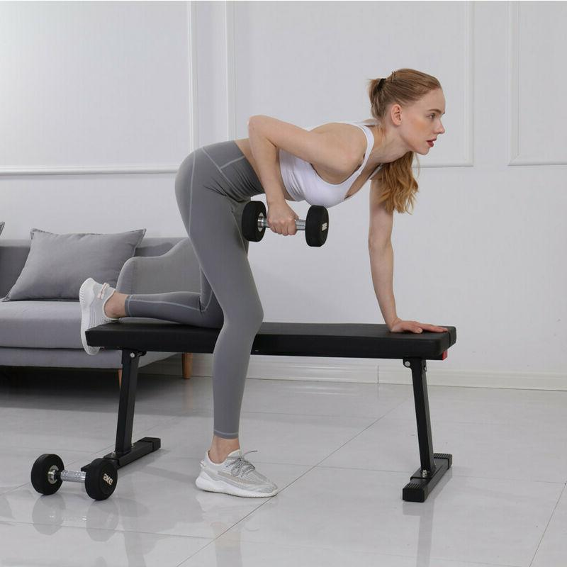 Sit Up Bench Flat Weight Bench Vinyl Seats Home Fitness Gym US