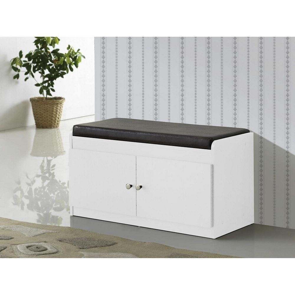 White Entry Way Shoe Bench Storage Cushioned Padded Seat Hal