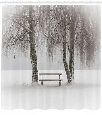 winter shower curtain bench trees snowflakes print