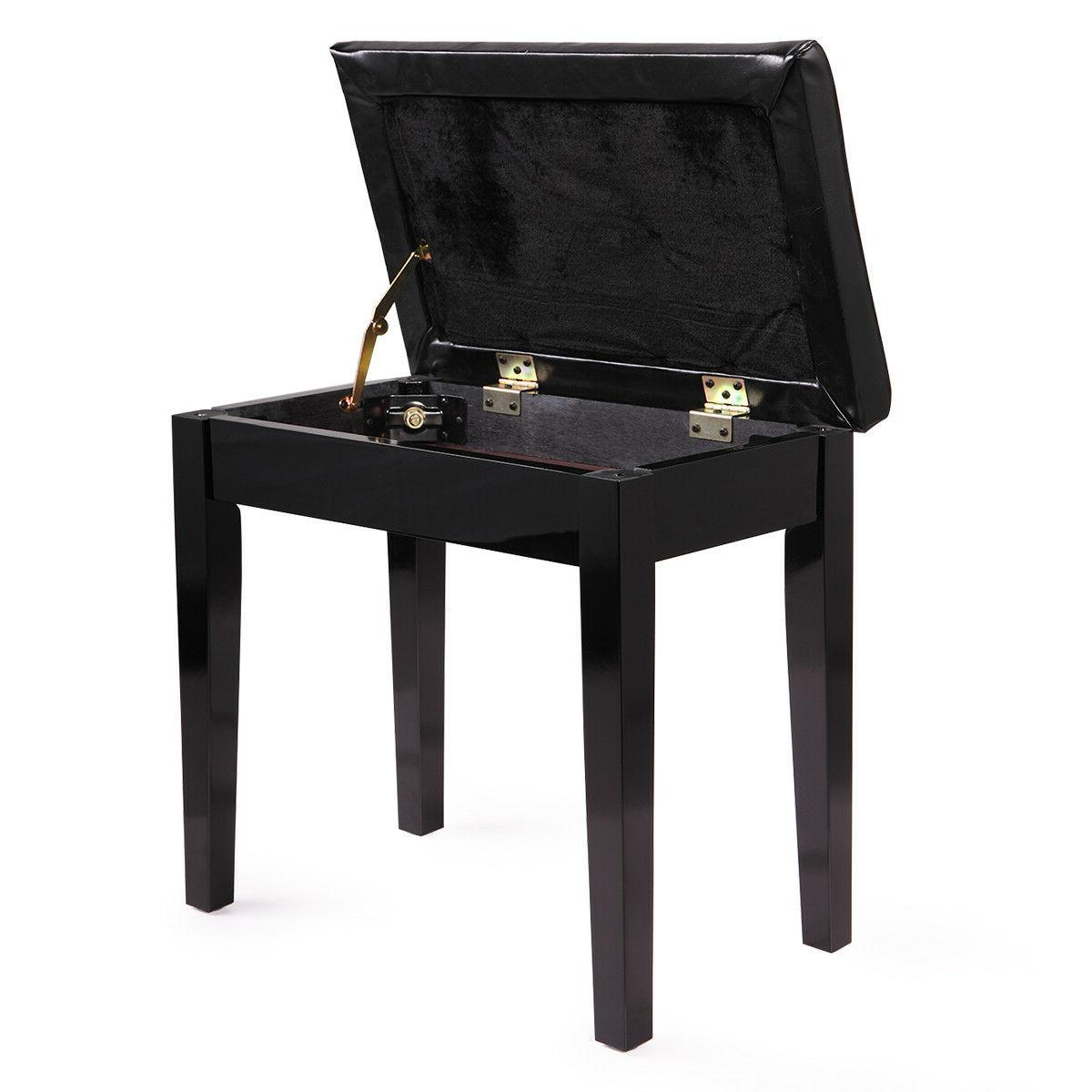 Wood Leather Piano Concert Keyboard Seat Storage