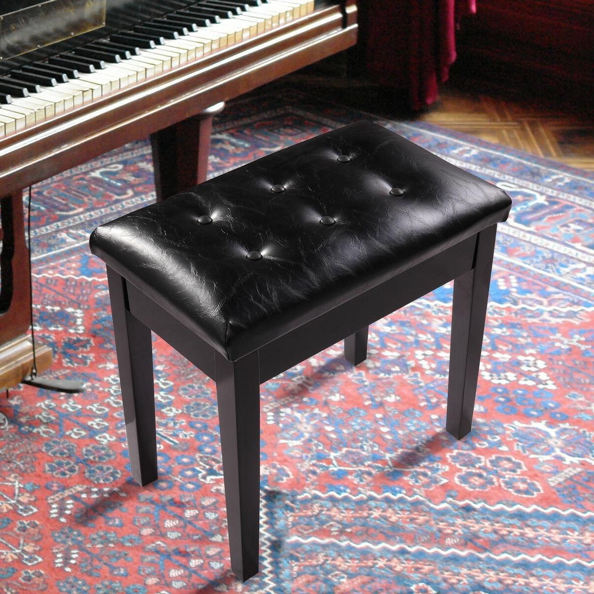 wood leather piano bench concert padded keyboard