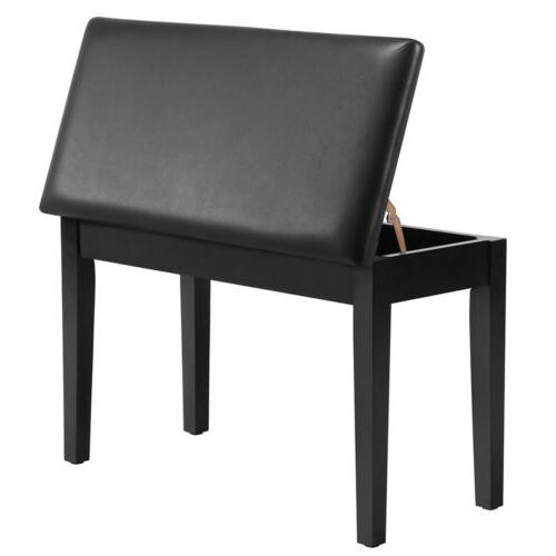wooden duet piano bench stool padded leather