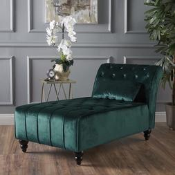 Large Tufted Chaise Nook Bench Bedroom Armless Velvet Teal G