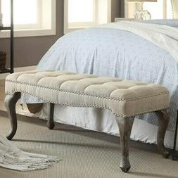 Linon Leah Cabriolet Washed Natural Linen Bench Grey